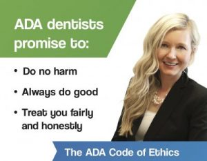 Image of Dr, Kathryn Alderman and the ADA code of ethics.