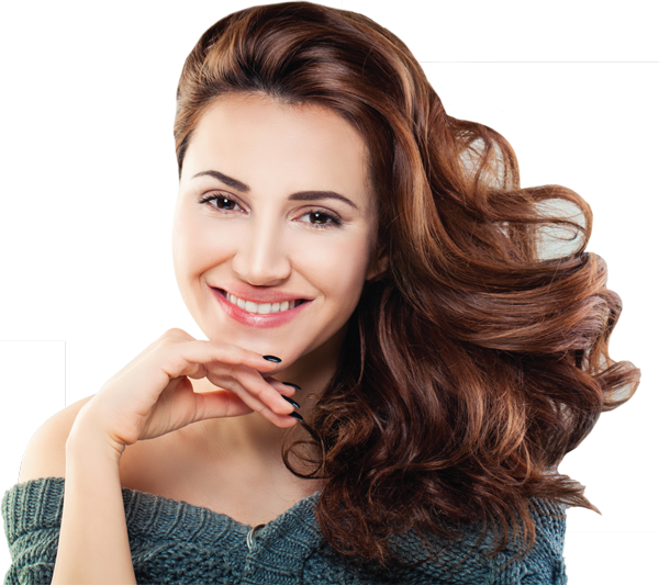Image of a happy woman who has been to the denture studio at South Lincoln Family Dentistry.